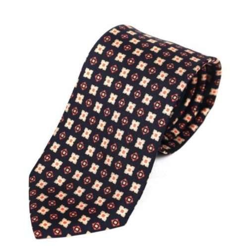 Luxury Silk Italian Tie - Black Silk Medallion