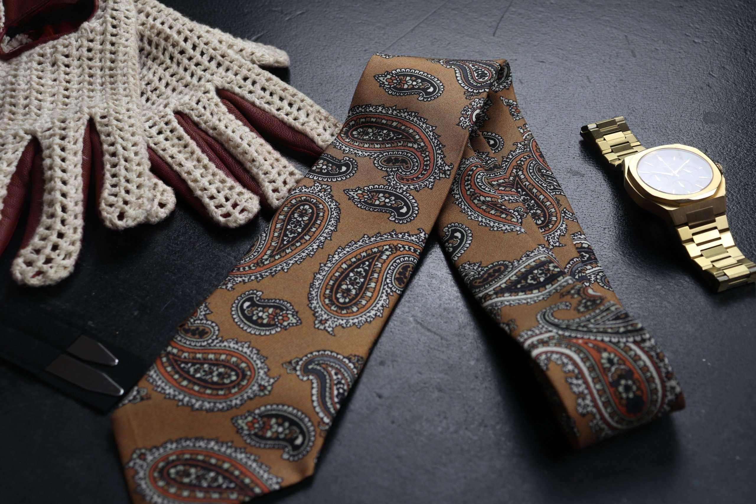Luxury Silk Italian Tie - Brown Paisley Silk Tie