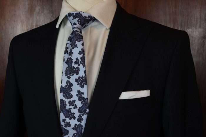 Luxury Silk Italian Tie - Baby Blue Paisley