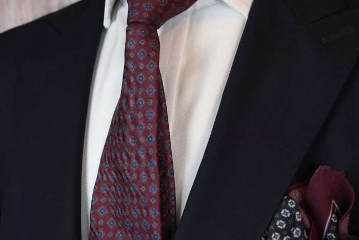 Luxury Silk Italian Tie - Vintage Burgundy Medallion