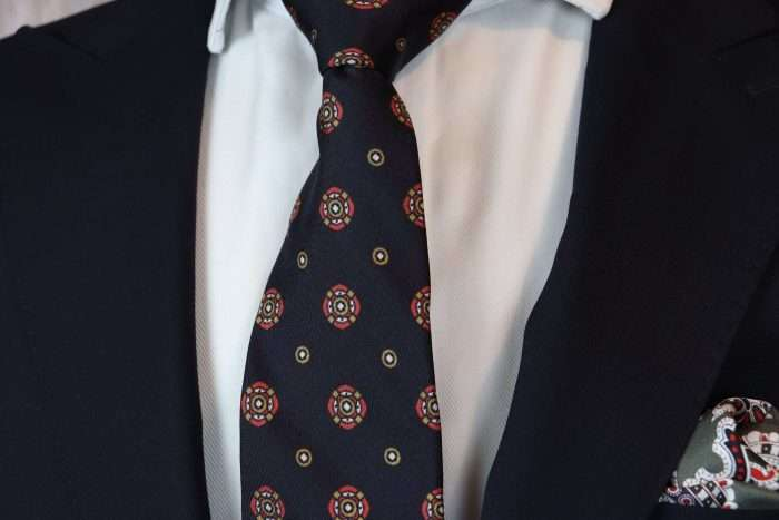 Luxury Silk Italian Tie - Black Vintage Medallion