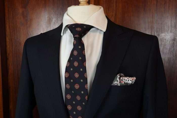 Luxury Silk Italian Tie - Black Vintage Medallion