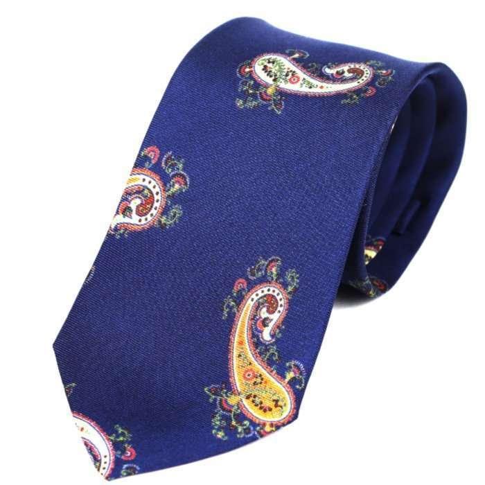 Luxury Silk Italian Tie - Navy Paisley Tie