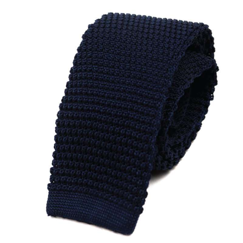 Navy Silk Knitted Tie