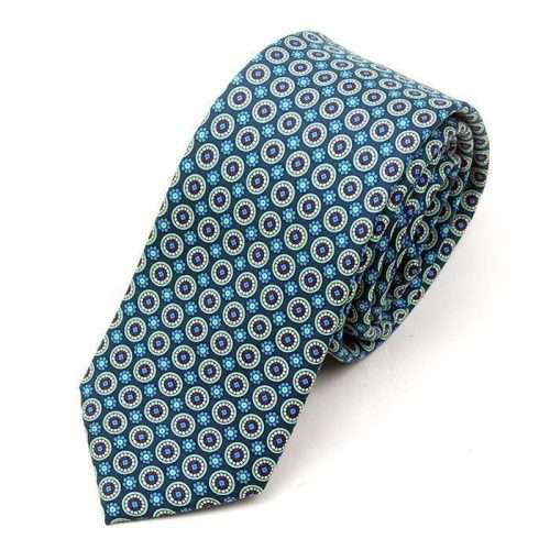 Luxury Teal Printed Silk Tie