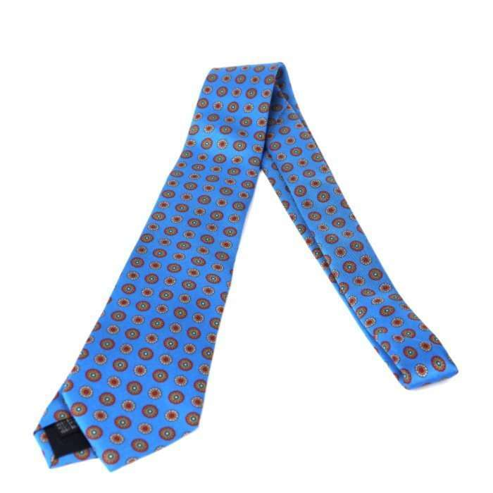 Luxury Silk Italian Tie - Blue Medallion