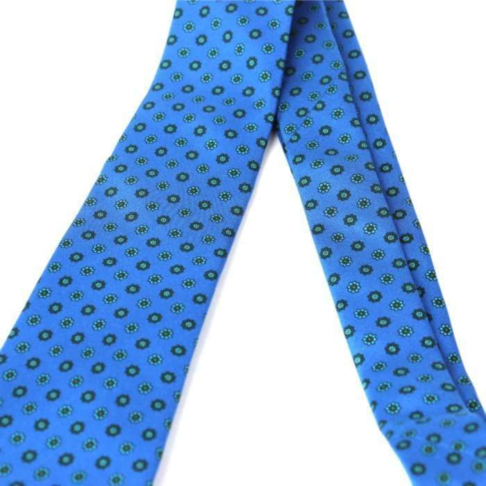 Luxury Silk Italian Tie - Blue & Green Medallion