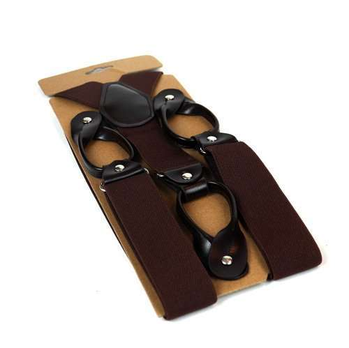 Mens Trouser Button Braces - Brown