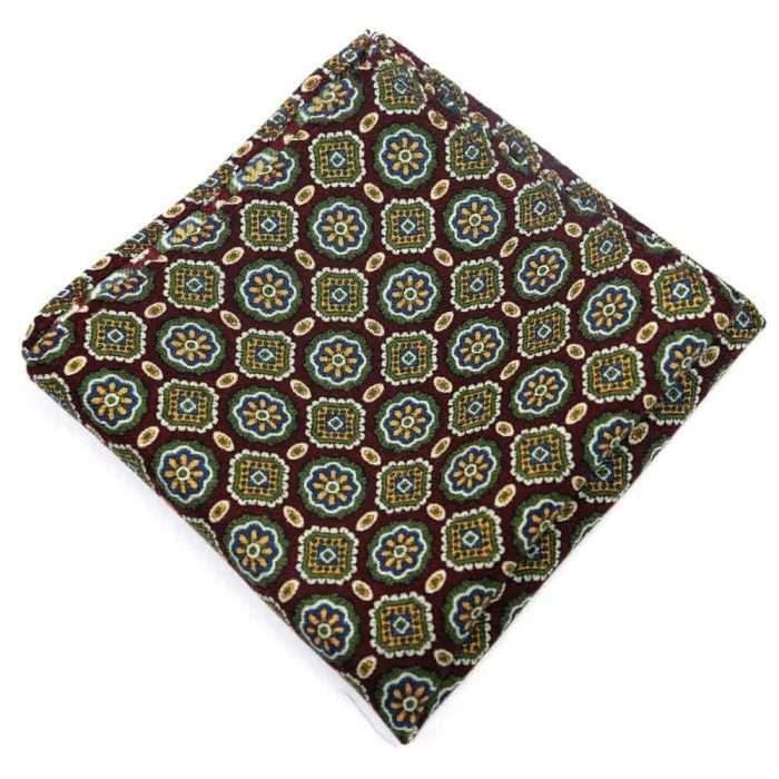 Wine Medallion Wool Pocket Square