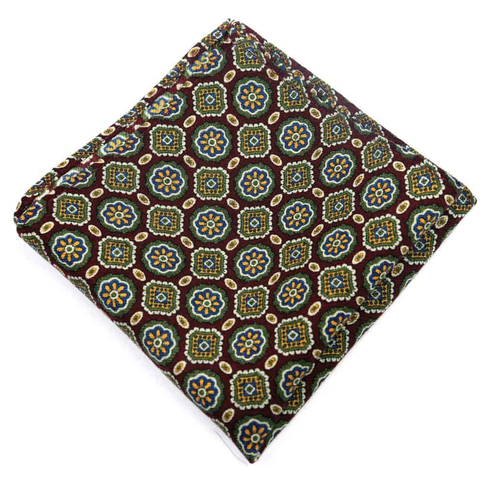 Wine Medallion Wool Pocket Square