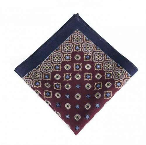 Brown & Navy Wool Pocket Square
