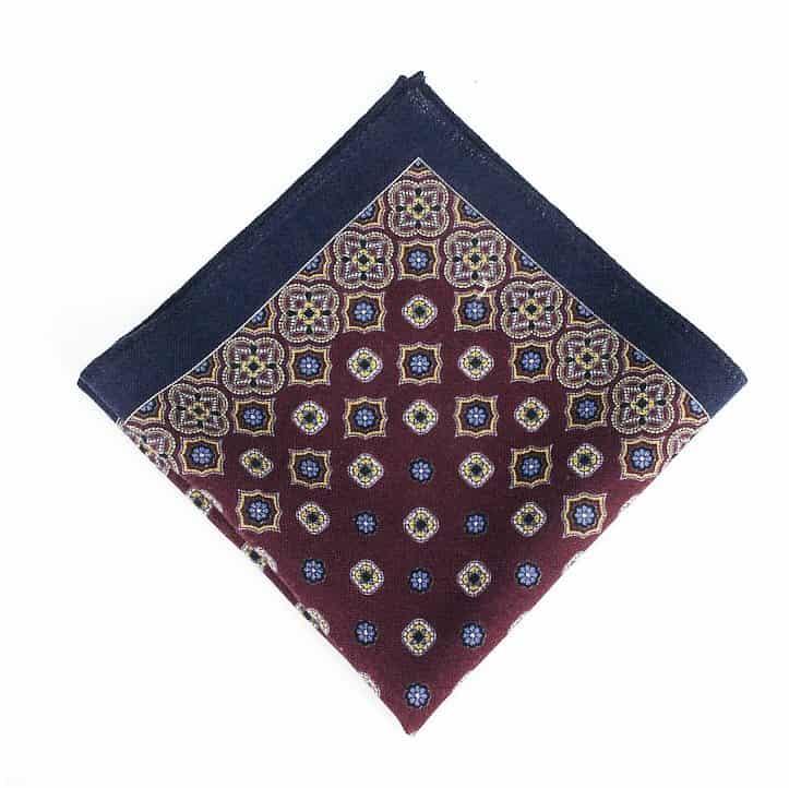 Brown & Navy Wool Pocket Square