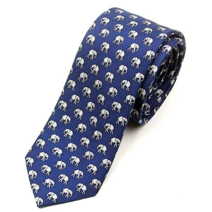 Luxury Blue Elephant Printed Tie
