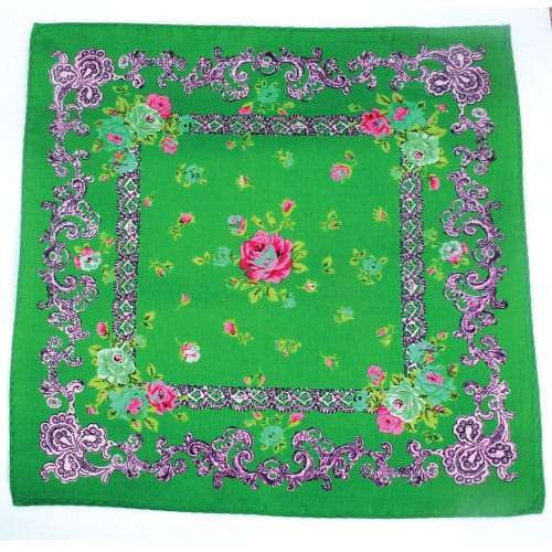 Luxury Ornate Green Silk Pocket Square