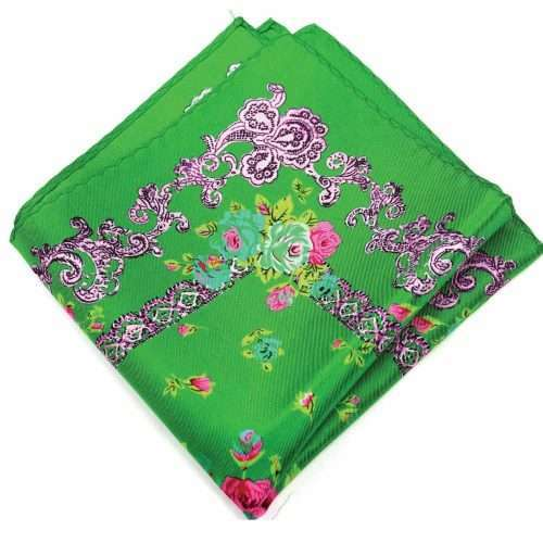 Luxury Ornate Green Silk Pocket Square