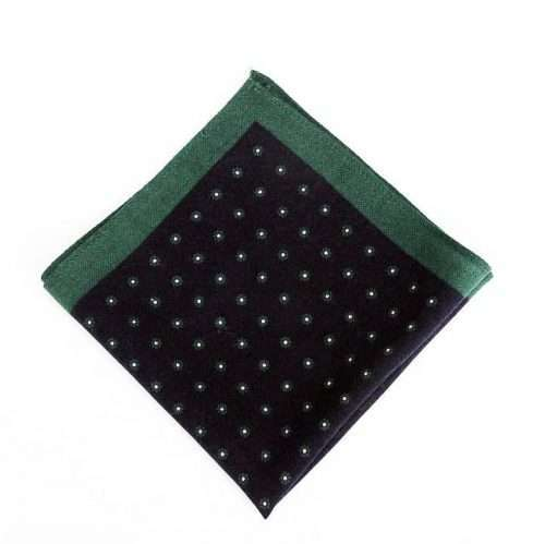 Green & Navy Wool Pocket Square