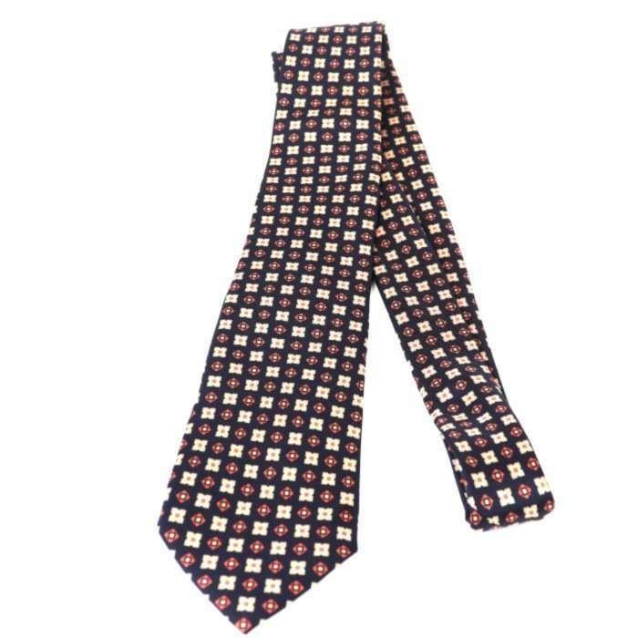 Luxury Silk Italian Tie - Black Silk Medallion