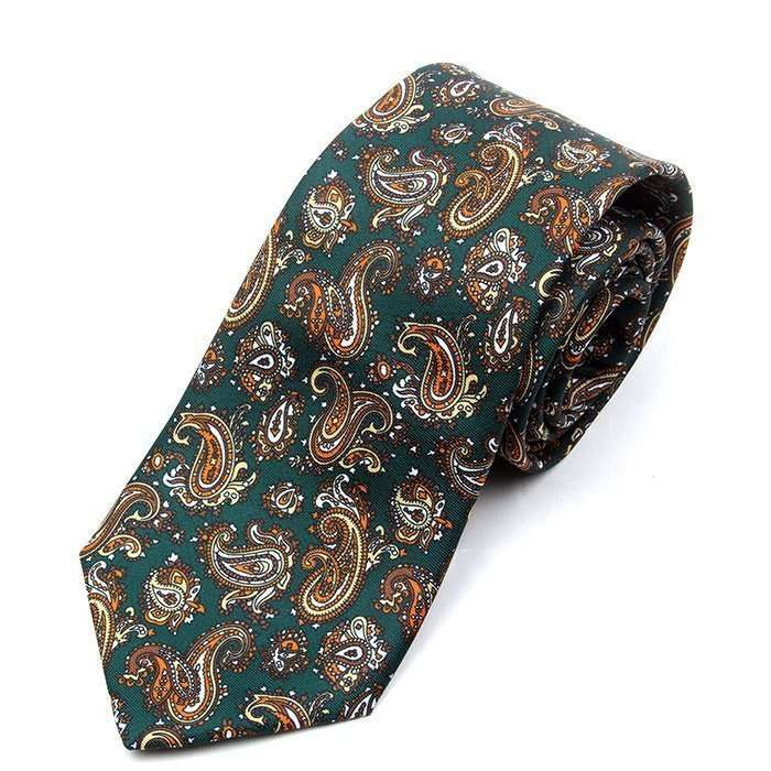 Luxury Green Paisley Printed Tie
