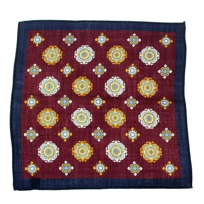 Wine & Navy Medallion Wool Pocket Square