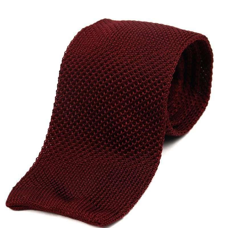 Maroon Silk Knitted Tie