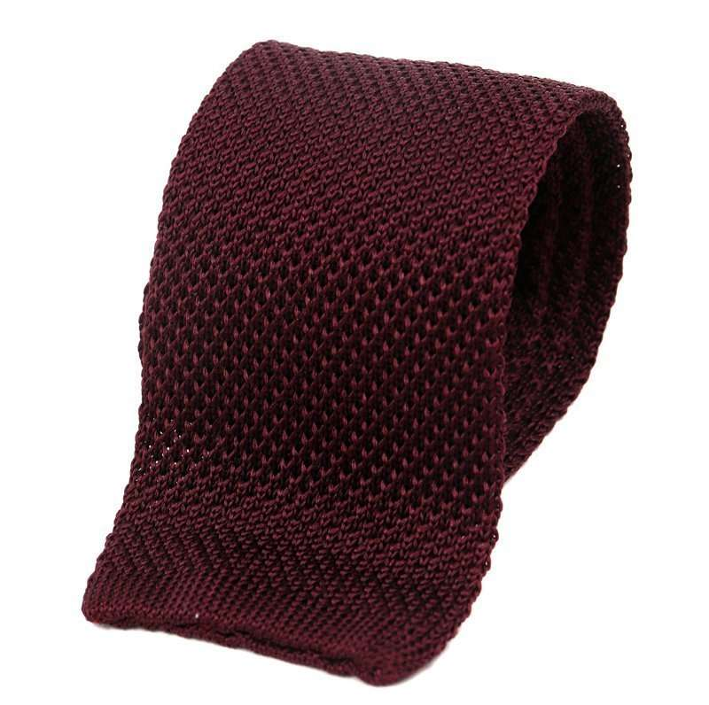 Wine Silk Knitted Tie