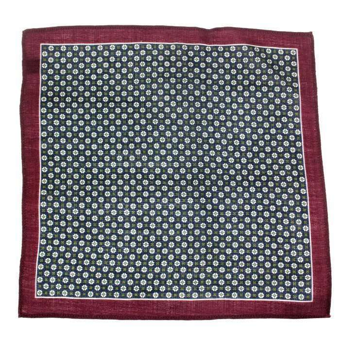 Navy & Wine Medallion Wool Pocket Square