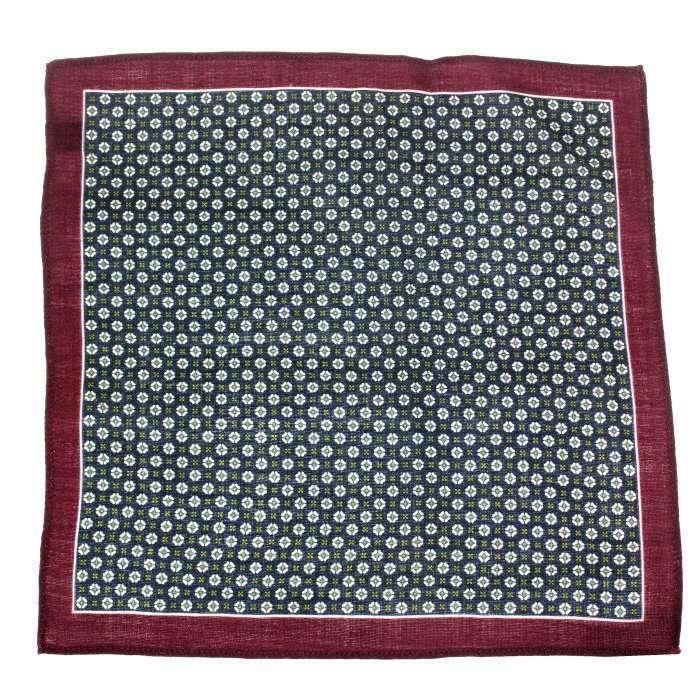 Navy & Wine Medallion Wool Pocket Square