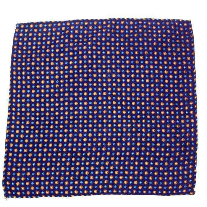 Blue Medallion Wool Pocket Square