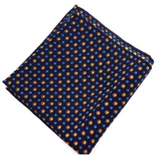 Blue Medallion Wool Pocket Square