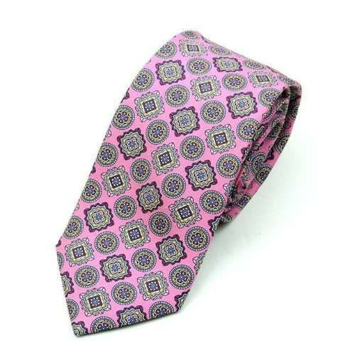 Luxury Pink Medallion Printed Tie