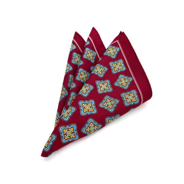 Wine Ornate Medallion Pocket Square