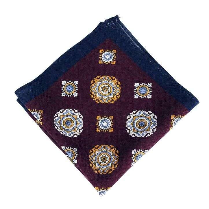 Wine & Navy Medallion Wool Pocket Square