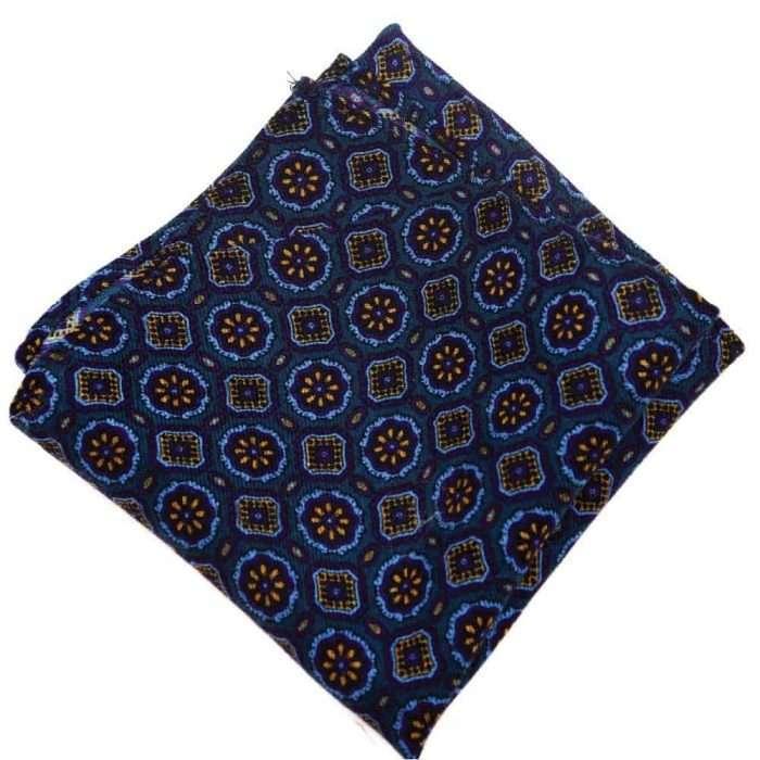 Navy Medallion Wool Pocket Square