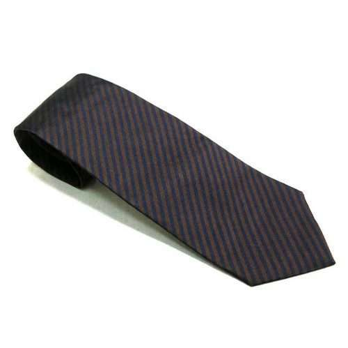 ERMENEGILDO ZEGNA - STRIPED NAVY BROWN TIE